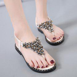 PU Leather Rhinestones Elastic Sandals