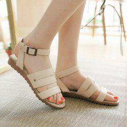 Flat Heel Faux Leather Sandals