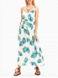 Tropical Leaf Print Empire Waist Slip Dress