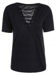Casual Lace Up Cut Out T Shirt