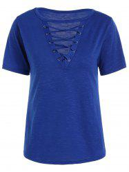 Casual Lace Up Cut Out T Shirt - BLUE M