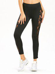 Sheer Lace Insert High Waist Workout Leggings - BLACK