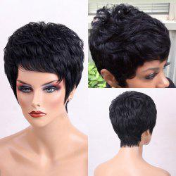 Side Bang Shaggy Layered Textured Short Slightly Curly Human Hair Wig - JET BLACK