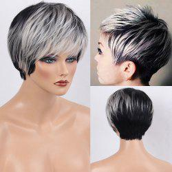 Colormix Side Bang Silky Layered Straight Short Human Hair Wig - WHITE AND BLACK