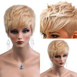 Short Inclined Bang Textured Layered Natural Straight Human Hair Wig