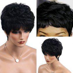 Short Layered Shaggy Slightly Curled Human Hair Wig - JET BLACK