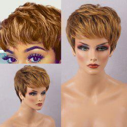 Short Side Bang Layered Straight Colormix Human Hair Wig