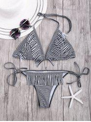Halter Side Tie Stripe Bikini with Fringes