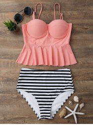 High Waisted Striped Flounce Peplum Tankini - ORANGEPINK