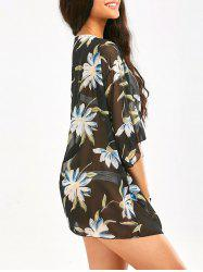 Big Flower Printed Chiffon Beach Cover Up - BLACK