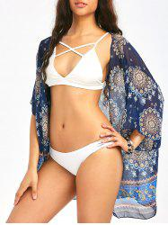 Bohemia Print Chiffon Summer Kimono Cover Up - PURPLISH BLUE