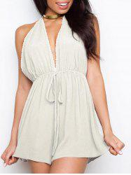 Plunging Neckline Backless Halter Romper