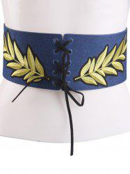 Leaf Embroidered Lace Up Wide Corset Belt -