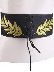 Leaf Embroidered Lace Up Wide Corset Belt - BLACK