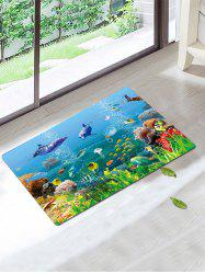 Skidproof Coral Fleece Underwater Fish Bath Rug