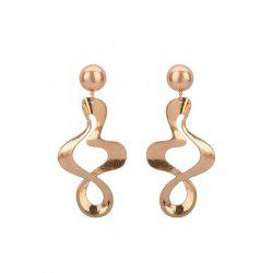 Wave Shaped Gold Plated Drop Earrings