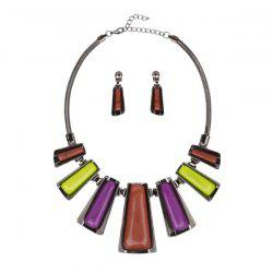 Enamel Geometry Statement Jewelry Set