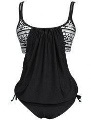 Cut Out Blouson Tankini Set