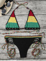 Halter Rainbow Crochet String Bikini Set