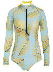 Long Sleeve Zip Printed Swimsuit with Bra