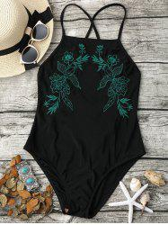 Lace-Up Cross Back Swimsuit