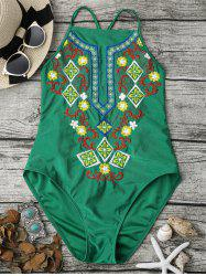 Cross Back High Neck Embroidered Swimsuit