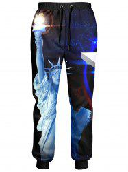 American Flag Statue of Liberty Printed Jogger Pants