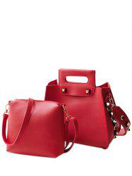 Crossbody Bag and Rivet Handbag - RED