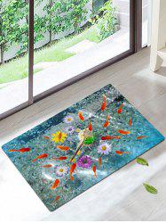 3D Fish Floral Print Antiskid Coral Fleece Rug - Colorful - W20inch*l31.5inch
