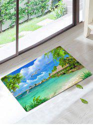Palm Bird Print Skidproof Beach Style Bath Rug