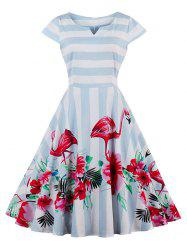 Vintage Floral Flamingo Print Striped Dress - LIGHT BLUE M