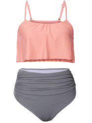 Striped High Waisted Ruffle Bikini Set - ORANGEPINK