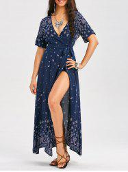 Bohemia Paisley Print Plunging Wrap Maxi Dress - DEEP BLUE