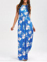 Maxi Floral Racerback Semi Formal Prom Dress