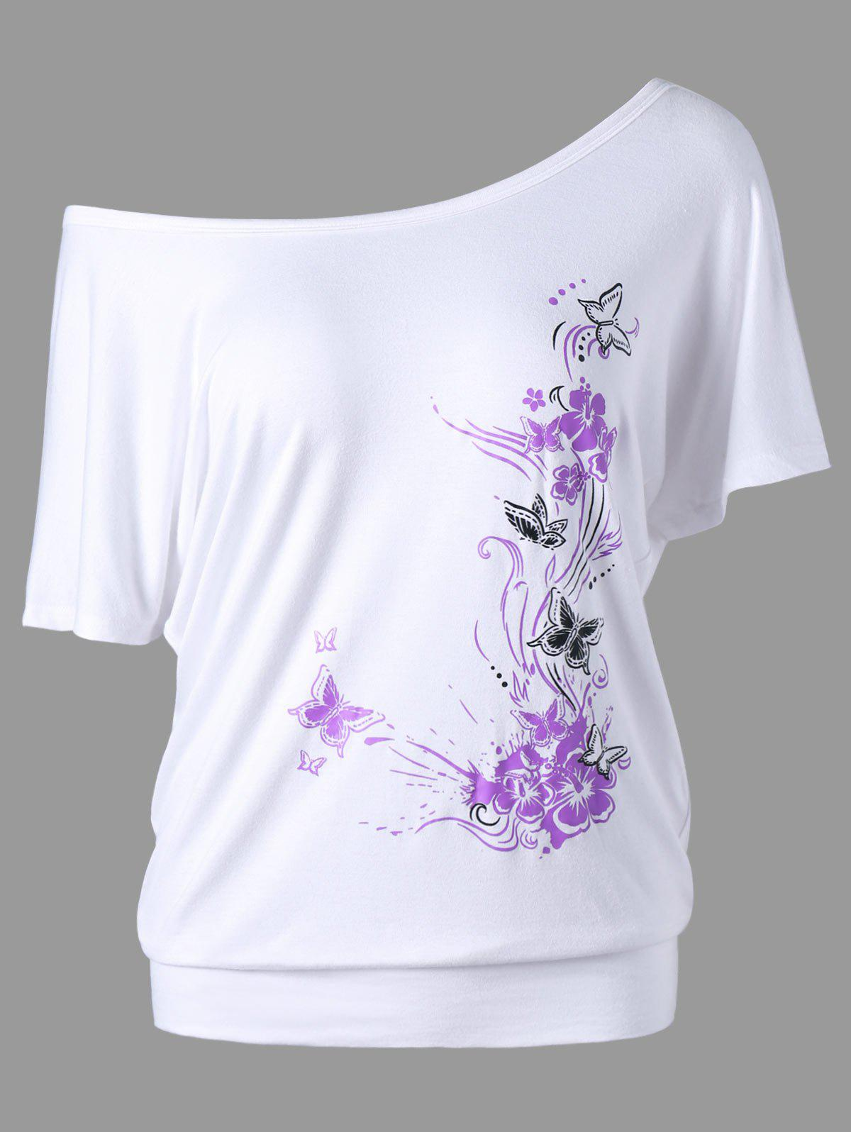 Fancy Skew Collar Butterfly and Floral T-Shirt