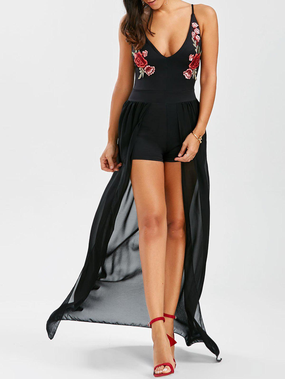 Hot See Thru Floral Embroidered Romper Dress