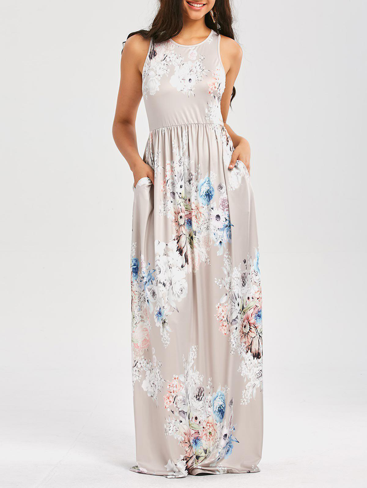 Maxi Floral Racerback Semi Formal Prom DressWOMEN<br><br>Size: XL; Color: LIGHT GRAY; Style: Casual; Material: Polyester,Spandex; Silhouette: Beach; Dresses Length: Floor-Length; Neckline: Round Collar; Sleeve Length: Sleeveless; Pattern Type: Floral,Print; Placement Print: No; Elasticity: Elastic; With Belt: No; Season: Summer; Weight: 0.4500kg; Package Contents: 1 x Dress;