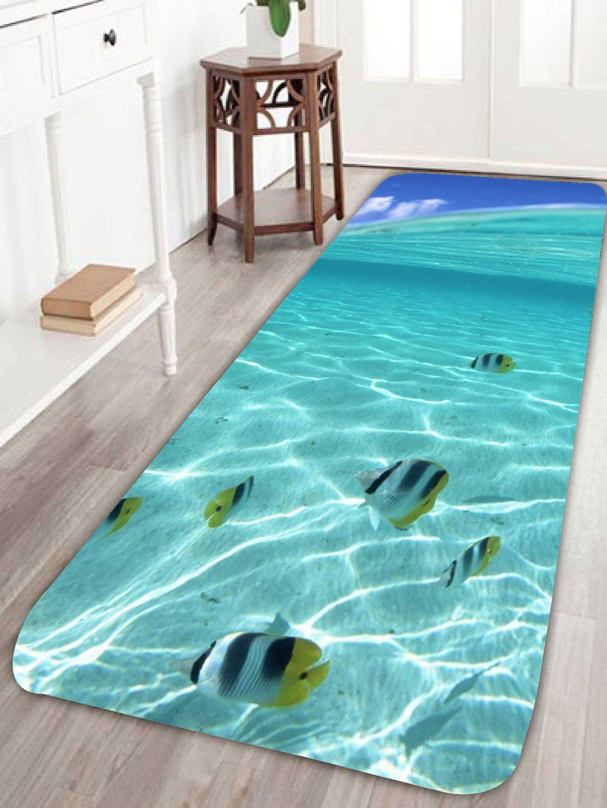 Coral Fleece 3D Fish Underwater Bath RugHOME<br><br>Size: W24 INCH * L71 INCH; Color: BLUE; Products Type: Bath rugs; Materials: Coral FLeece; Pattern: Animal; Style: Trendy; Shape: Rectangle; Package Contents: 1 x Rug;