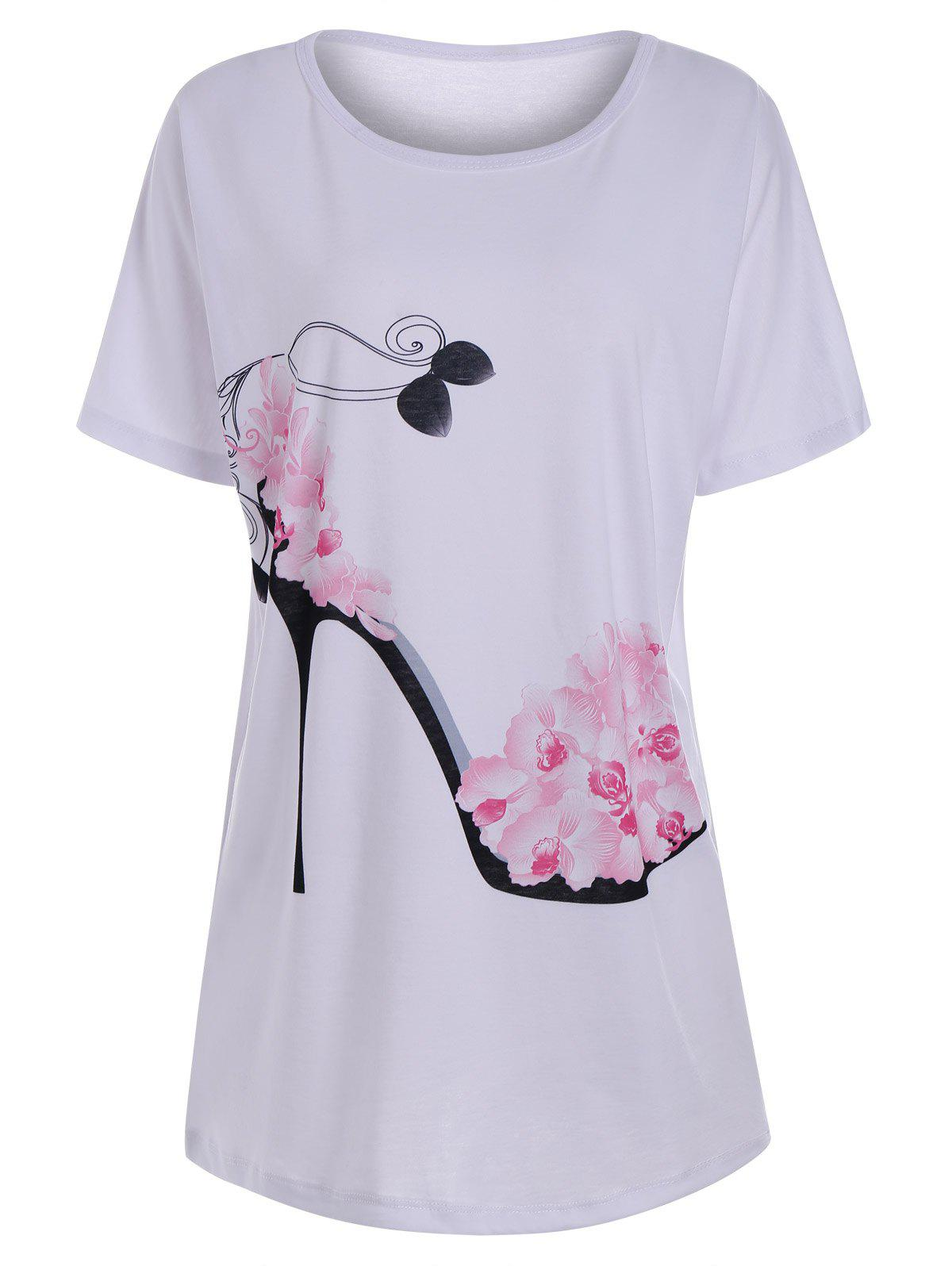 Chic Floral High Heel Print Tunic T Shirt