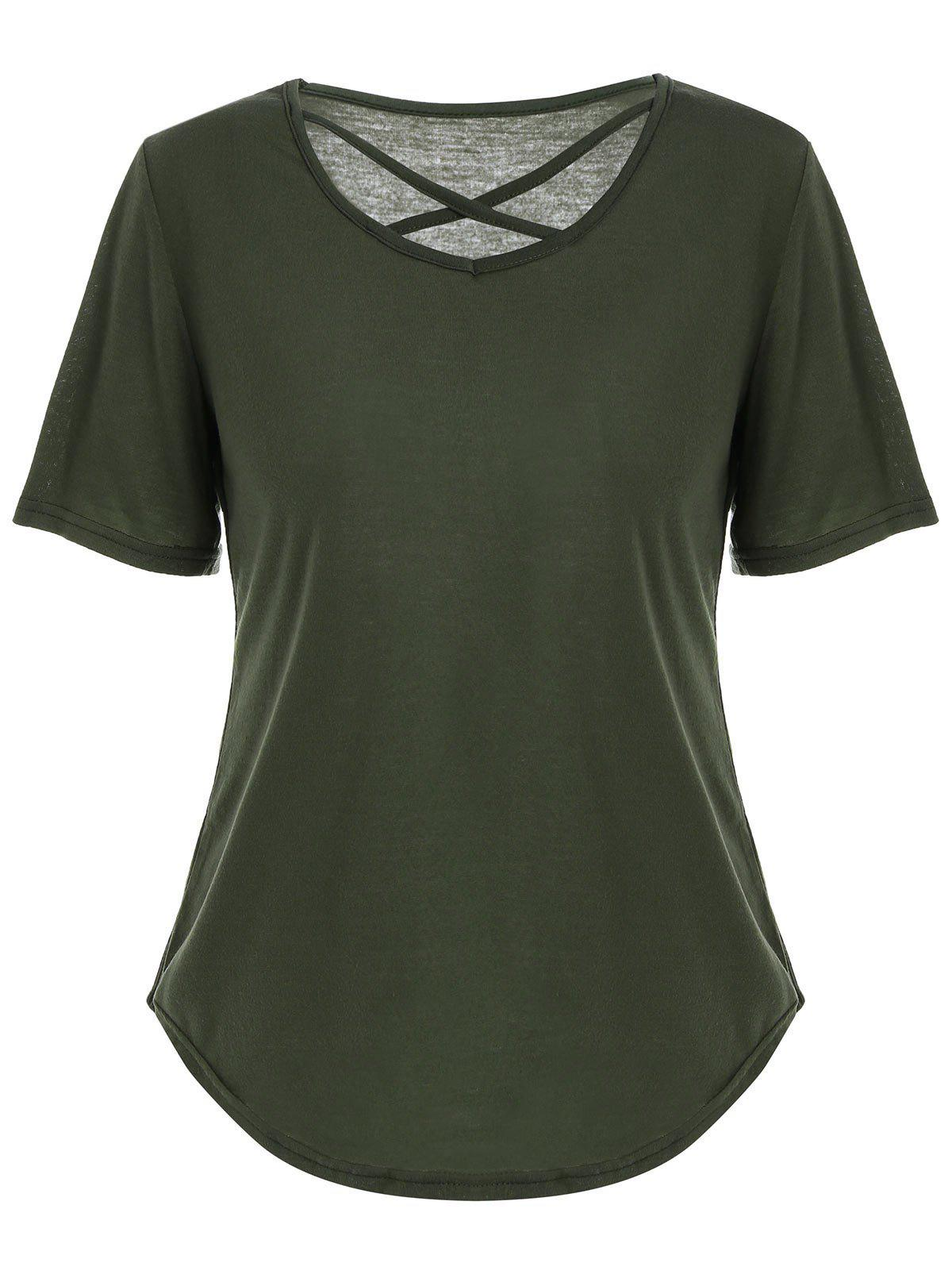 Affordable V Neck Criss Cross Cut Out T Shirt