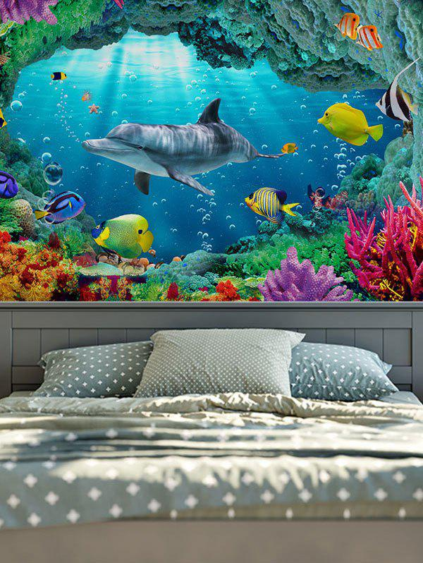 3D Sea World Print Rectangle Wall Hanging TapestryHOME<br><br>Size: W71 INCH * L71 INCH; Color: OCEAN BLUE; Style: Fresh Style; Material: Cotton,Polyester; Feature: Removable,Washable; Shape/Pattern: Animal; Weight: 0.3100kg; Package Contents: 1 x Tapestry;