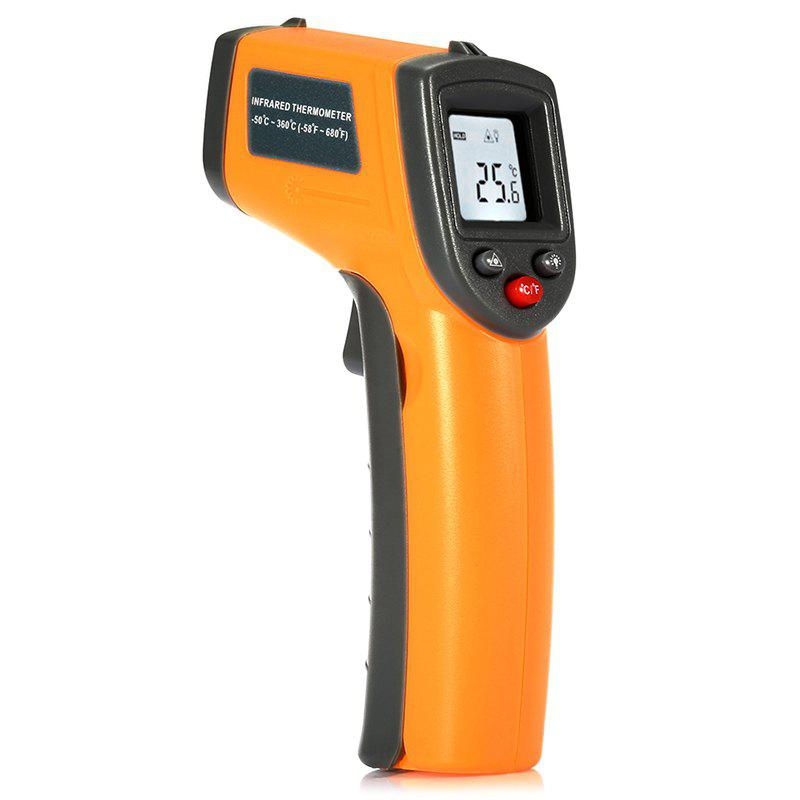 GS320 LCD Display Digital IR Infrared Thermometer with Data HoldHOME<br><br>Color: YELLOW; Temperature Type: Celsius,Fahrenheit;