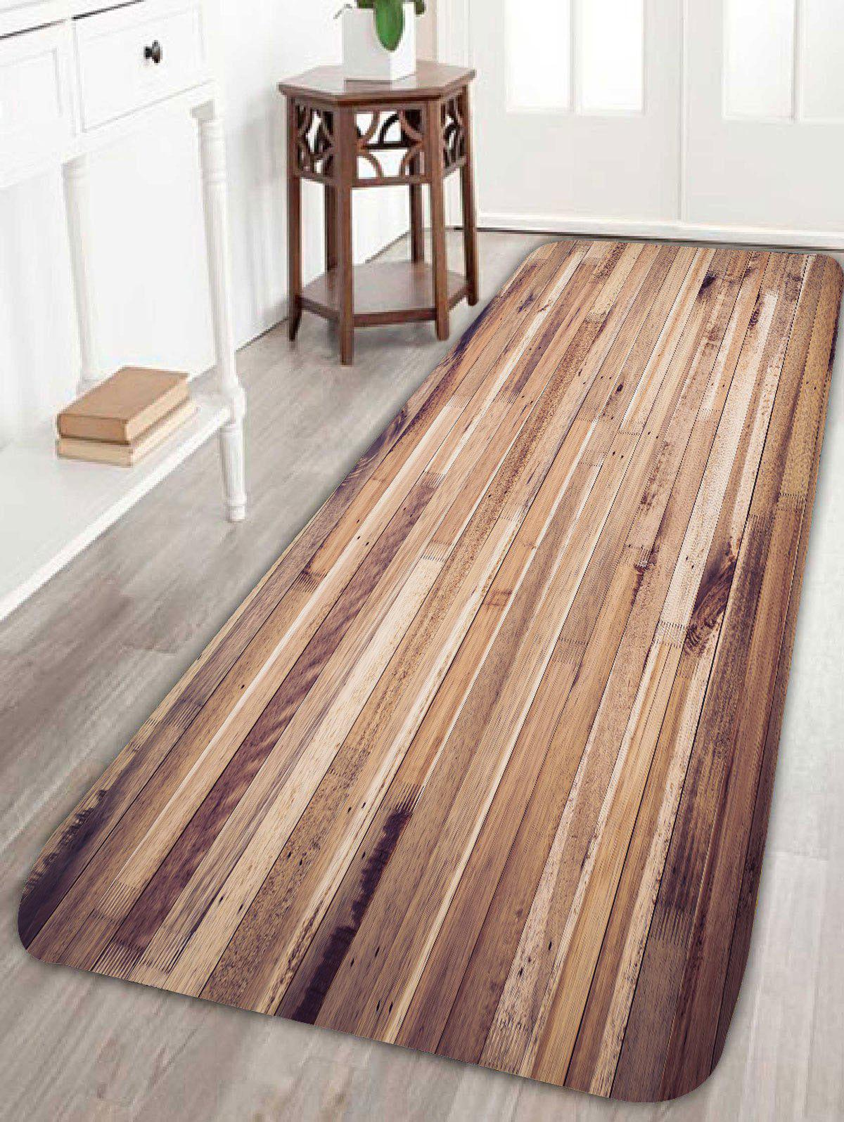 27 Off Fleece Wood Grain Pattern Antiskid Bath Rug