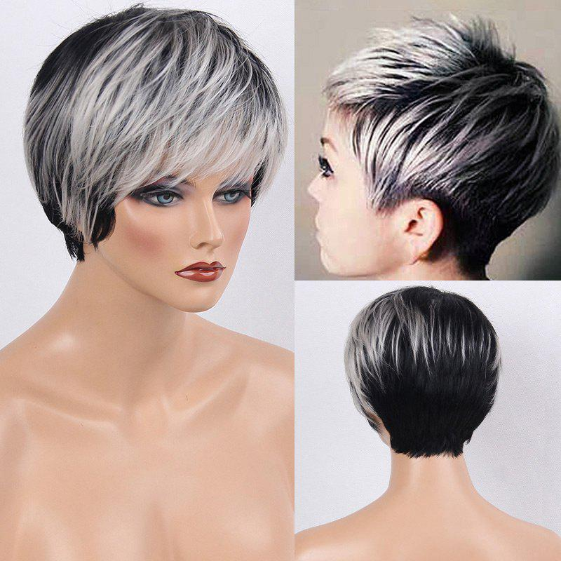 Colormix Side Bang Silky Layered Straight Short Human Hair WigHAIR<br><br>Color: WHITE AND BLACK; Type: Full Wigs; Cap Construction: Capless; Style: Straight; Cap Size: Average; Material: Human Hair; Bang Type: Side; Length: Short; Occasion: Daily; Length Size(CM): 22; Weight: 0.1200kg; Package Contents: 1 x Wig;