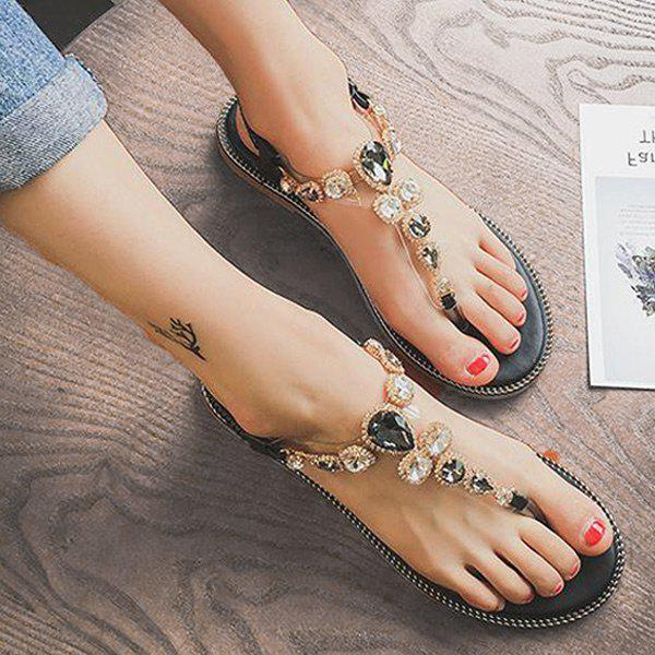 Affordable Rhinestones Transparent Plastic Flat Heel Sandals