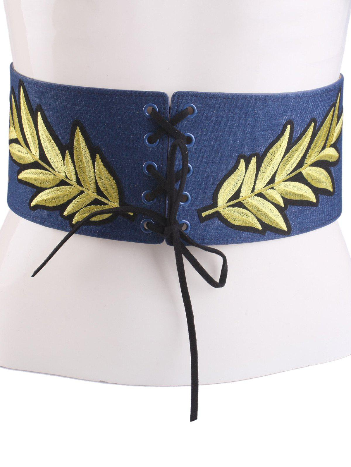 Outfits Leaf Embroidered Lace Up Wide Corset Belt