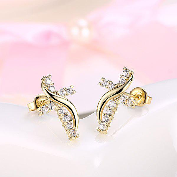 Rhinestone Crucifix Stud Tiny EarringsJEWELRY<br><br>Color: GOLDEN; Earring Type: Stud Earrings; Gender: For Women; Material: Rhinestone; Style: Trendy; Shape/Pattern: Cross; Length: 1.5CM; Weight: 0.0300kg; Package Contents: 1 x Earring (Pair);