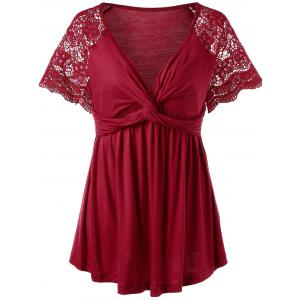 Lace Panel Twist Knot Plus Size Top