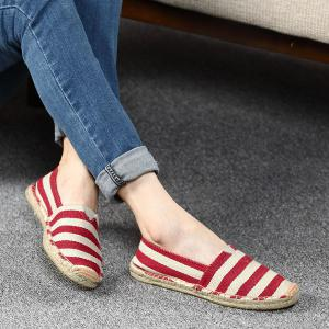 Striped Two Tone Casual Shoes - Red - 38