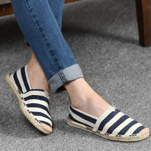 Striped Two Tone Casual Shoes - Purplish Blue - 38
